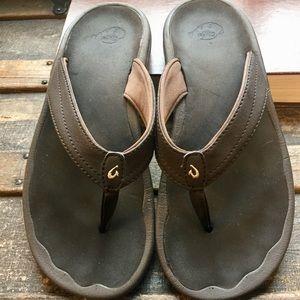 "OluKai ""Ohana"" Brown Flip Flops"
